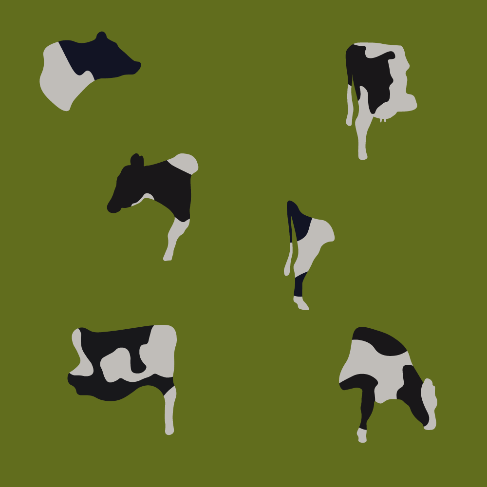 Digital Cows Grazing in the High Grass - illustration by Robert Fiszer